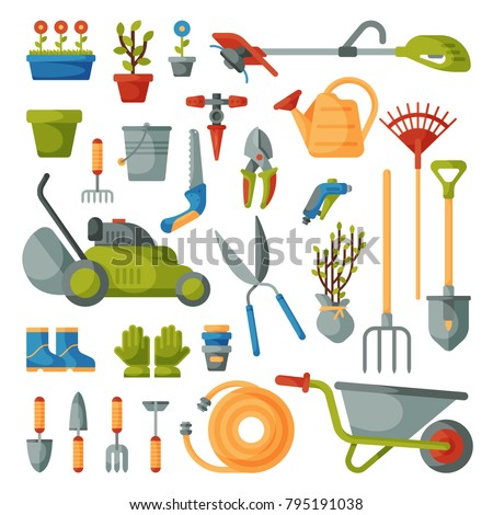 Garden tool vector gardening equipment rake or shovel and lawnmower of gardener farm collection or farming set illustration isolated on white background