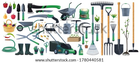Garden tools and equipment cartoon set of vector agriculture, farming and gardening design. Spade, rake, shovel and pitchfork, trowel, watering hose and can, grass mower, wheelbarrow and pruners Stockfoto ©