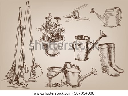 Garden tools collection of vector designs 107014088 for Gardening tools drawing