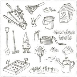 Garden tools doodle set. Various equipment and facilities for gardening and agriculture.  Vintage illustration for identity, design, decoration, packages product and interior decorating.