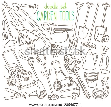 Garden tools doodle set various equipment and facilities for Gardening tools word search