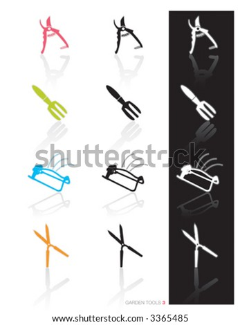 Garden Tools Icon Set 3 (vector) Colorful set of icons of garden tools in 3 styles; Easy edit vector art