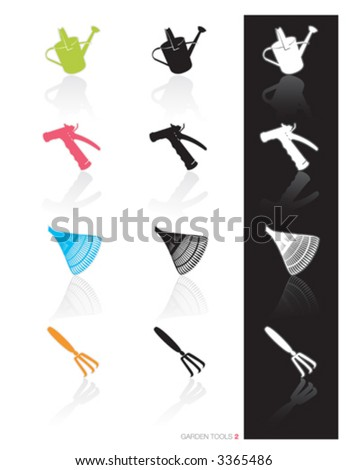Garden Tools Icon Set 2 (vector) Colorful set of icons of garden tools in 3 styles; Easy edit vector art - stock vector