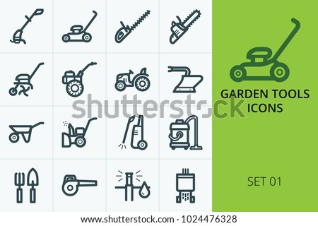 Garden tools icons set. Collection of trimmer, lawn mower, tractor, chainsaw, trolley.