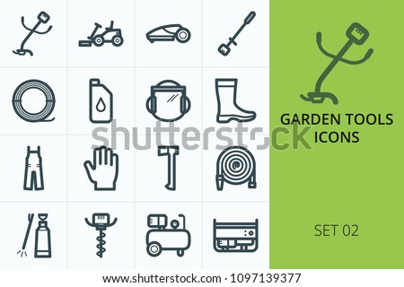 Garden tools icons set. Set of lawn mower, gas trimmer grass, lawn mower robot, pole saw, gloves, trimmer line, auger icons