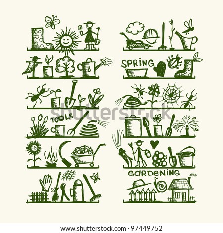 Garden tools on shelves, sketch for your design