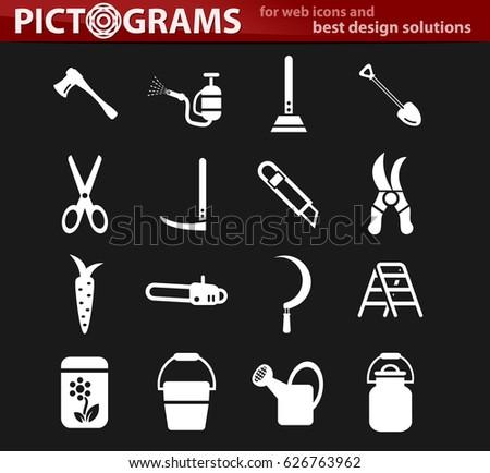 garden tools vector icons for user interface design
