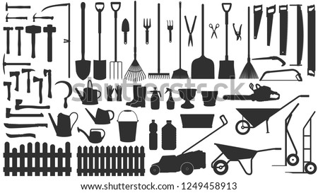 Garden tools. Vector silhouettes set: shovels, axes, hammers, saws, watering cans, carts, rakes, choppers, pots and scissors. Large collection of garden equipment. Black contours isolated on white.