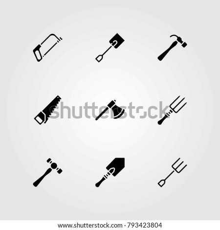 Garden vector icons set. fork, axe and handsaw