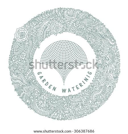 garden watering emblem vector