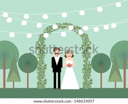 garden wedding vector/illustration