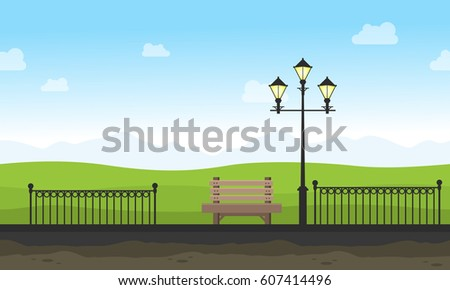 garden with street lamp