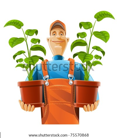 gardener with plant in flowerpot vector illustration isolated on white background