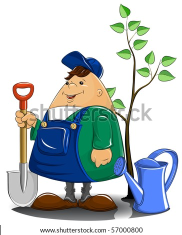 gardener with spade watering can and tree vector illustration