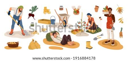 Gardeners picking harvest in autumn time. Men digging potatoes, women gathering vegetables in garden. Farm equipment tools set. Flat cartoon vector illustration. Photo stock ©