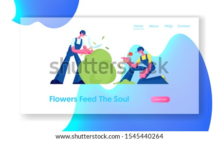 Gardeners Working in Garden Website Landing Page. Man Trimming Bush Woman Care and Planting Flowers to Ground. Active Outdoors Hobby, Gardening Job Web Page Banner. Cartoon Flat Vector Illustration