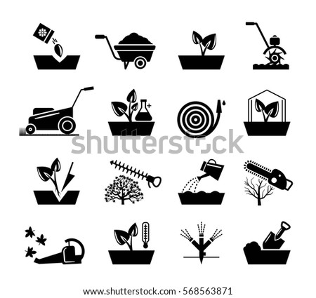 Gardening and flowers icons. Hosepipe and lawnmower, wheelbarrow and shovel tools vector signs. Equipments for watering garden black silhouette illustration