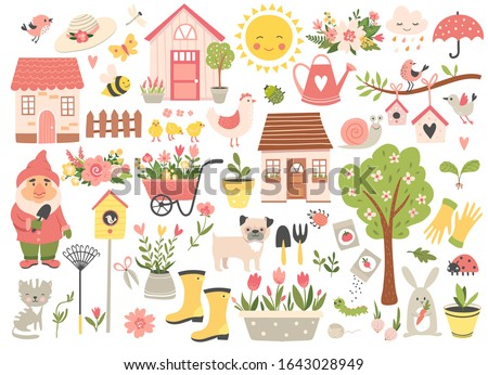 Gardening and Spring set, hand drawn elements- flowers, houses, birds, insect and other. Perfect for scrapbooking, greeting card, party invitation, poster, tag, sticker kit. Vector illustration.