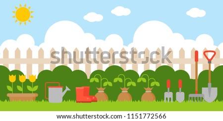 gardening background in flat design us as backdrop,wallpaper or printing for elementary school or kindergarten