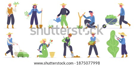 Gardening characters. Farm workers, gardener planting, watering and gathering agriculture plants and green. Gardener work vector illustration. Farm worker gardening and planting, gathering and farming