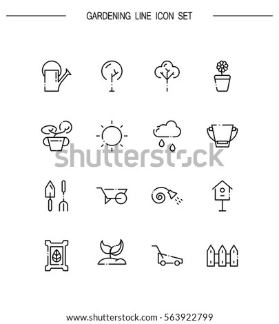 Gardening flat icon set. Collection of high quality outline symbols for web design, mobile app. Gardening vector thin line icons or logo.