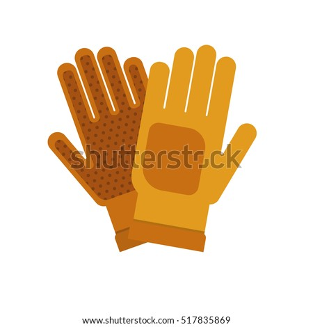 Gardening flat yellow gloves for work isolated on white background vector illustration. Farming hand protection, gloves safety