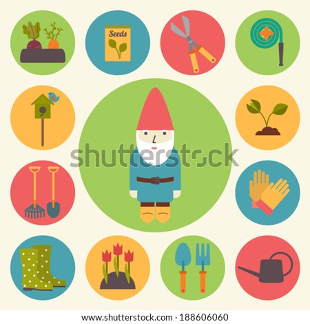 Gardening garden icons set flat design vector stock vector