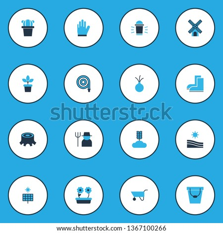 Gardening icons colored set with sun power, onion, pushcart and other rural elements. Isolated vector illustration gardening icons.