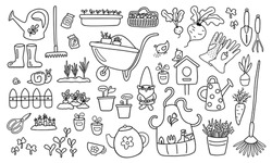 Gardening icons doodle set. Line objects isolated on white background. Summer country lifestyle. Garden tools and plant seedlings. Organic healthy food growing. Rural life in the village vector image.