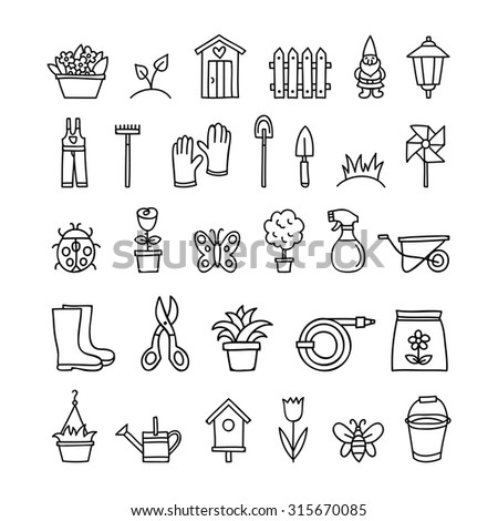 Gardening icons hand drawn tools, flowers, plants, agriculture black outline nature symbols