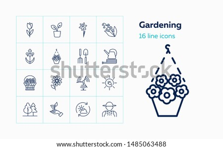 Gardening icons. Set of line icons on white background. Flowers, gardening tools, agricultural worker. Floriculture concept. Vector can be used for topics like plants, botany, agriculture
