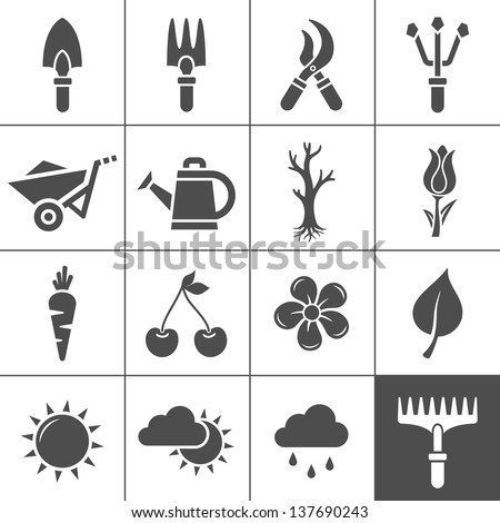 Gardening Icons Set. Vector illustration of garden tools. Simplus series