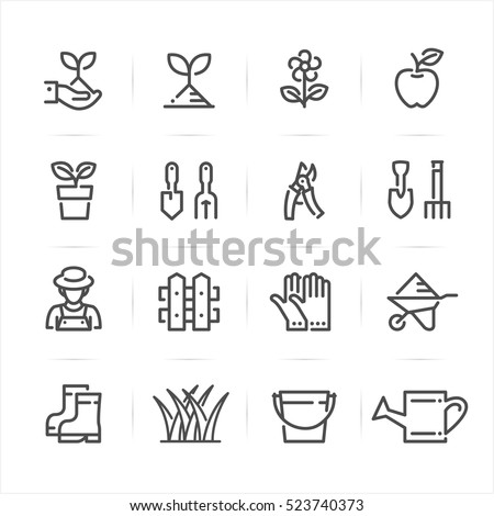 Gardening icons with White Background