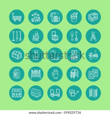 Gardening, planting and horticulture line icons. Garden equipment, organic seeds, fertilizer, greenhouse, pruners, watering can and other tools. Vegetables, flower cultivation linear signs