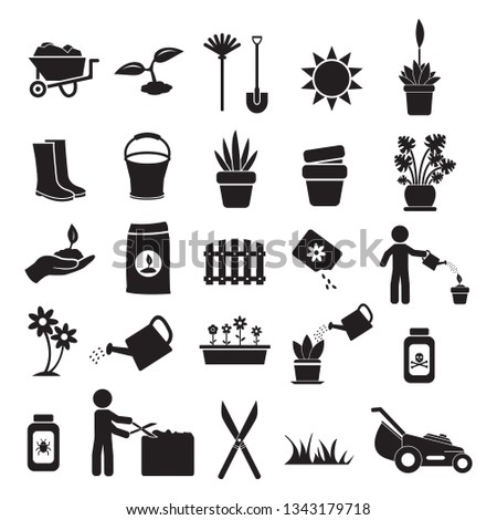 Gardening, plants and flowers vector icon set black, icons such as seeds, flowers, pots, shears, pesticide, trimming, shears, lawn mower and others