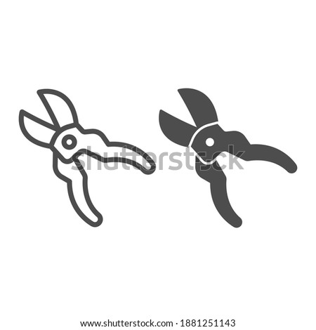 Gardening scissors line and solid icon, farm garden concept, Secateurs sign on white background, Garden pruner icon in outline style for mobile concept and web design. Vector graphics. Stock photo ©