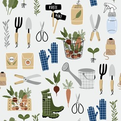 Gardening seamless pattern. Vector illustration of garden elements: spade, pitchfork, wheelbarrow, plants, watering can, grass, flowers, garden gloves and cute calligraphy. Spring time