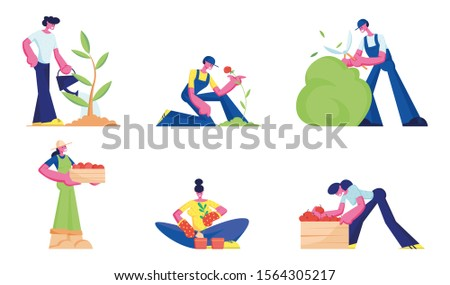 Gardening Set. Men and Women Farmers or Gardeners Planting and Caring of Trees and Plants. Happy Characters Working in Garden Watering, Trimming Bushes Care of Flowers. Flat Vector Illustration