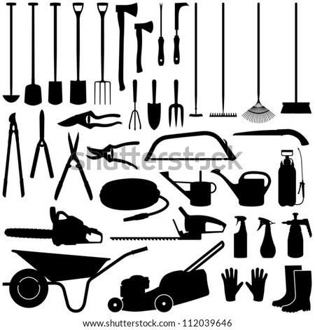 Gardening tools collection - vector silhouette