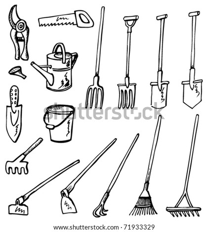 Gardening tools doodles hand drawn illustration converted for Common garden hand tools