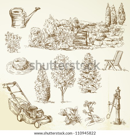 gardening tools hand drawn collection