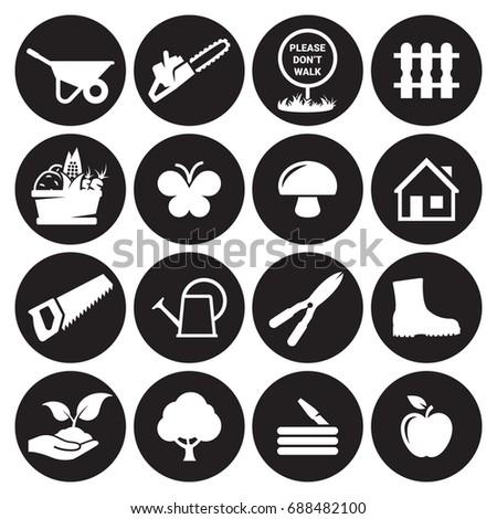 Gardening tools icons set. White on a black background