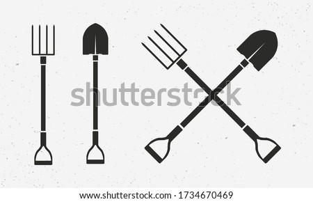 Gardening tools set. Farm icons isolated on white background. Shovel and pitchfork icons. Vector illustration Photo stock ©