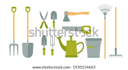 Gardening tools set isolated on white background. Bucket, shovel, pitchfork, rake, pruner, ax, saw, watering can, garden shovels. Vector illustration in cartoon simple flat style. Stock photo ©