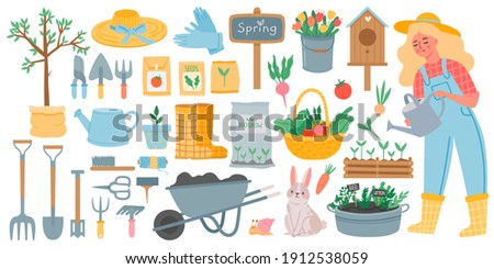 Gardening tools. Spring garden equipment - hoe, fork, shovel and rake, wheelbarrow and seeds. Woman watering plants. Horticulture vector set. Rabbit and snail, basket with vegetables Foto stock ©