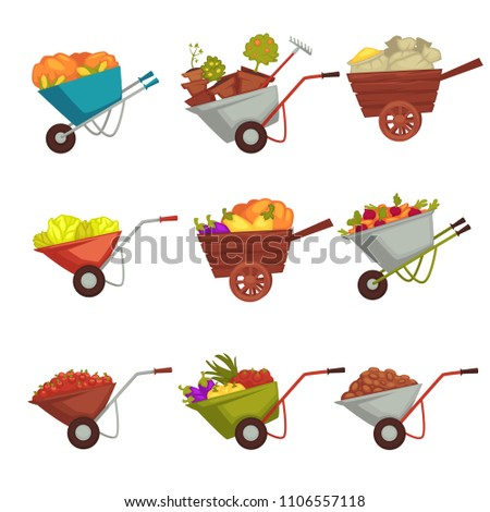 Gardening wheelbarrow with vector harvest #1106557118