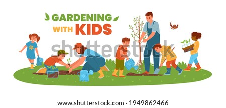 Gardening With Kids Horizontal Vector Banner. Children And Adults Planting Trees And Flowers. Boys And Girls Watering, Planting, Digging, Carrying Seedlings.   Foto stock ©