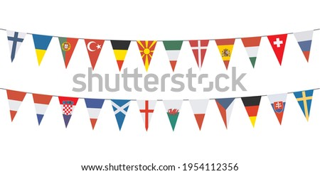 Garland banners with pennants of different European countries on white background