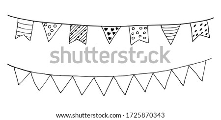 Garland of flags. Doodle freehand illustration. Vector. Holiday decoration. Contour black and white