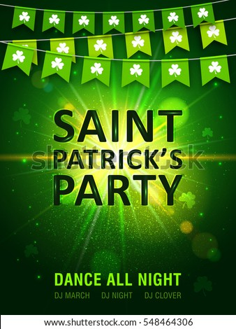 Garland of green pennants with clover on shining green background. Irish holiday Saint Patrick's Day. Vector illustration for party poster, banner, disco night placard.